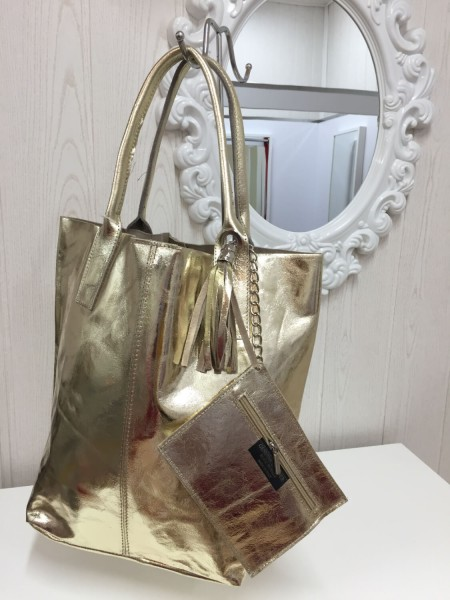 Damenhandtasche Echt Leder - metallicfarben gold - Made in Italy