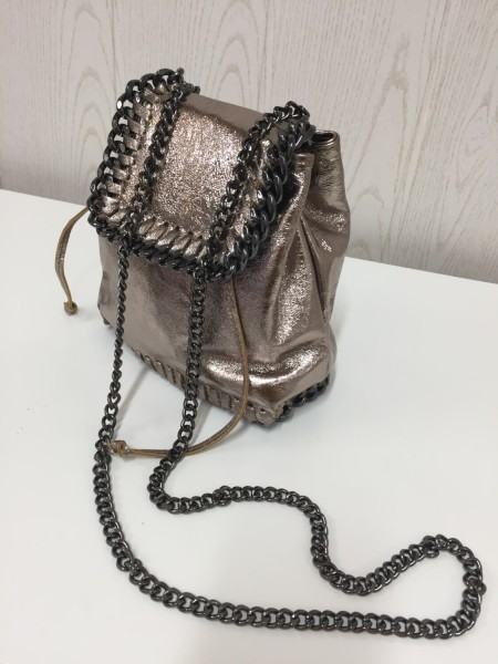 Handtasche Damentasche - Echt Leder - metallicfarben bronze - Made in Italy